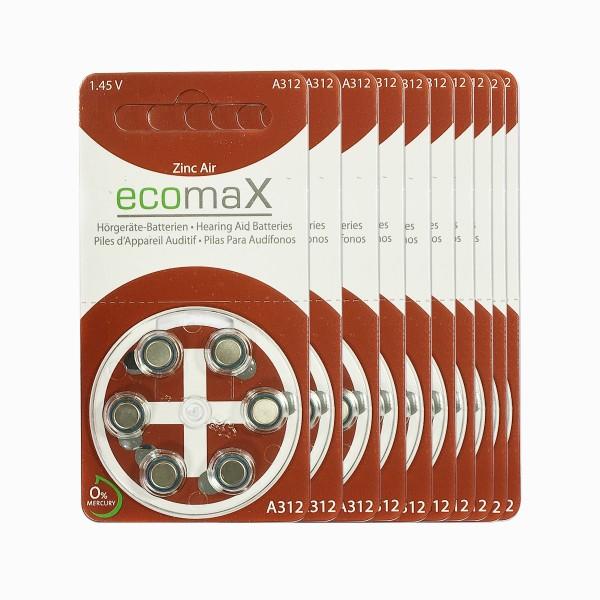 60 x Basic Hörgerätebatterien Ecomax Größe 312