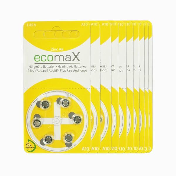 60 x Basic Hörgerätebatterien Ecomax Größe 10
